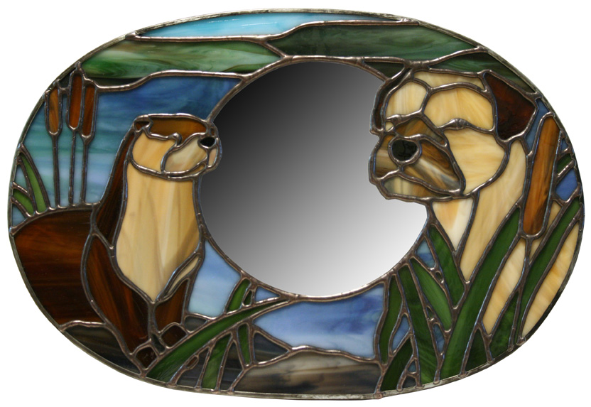 Border Terrier And Otter Mirror