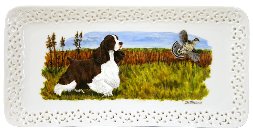 English Springer Spaniel Plate with Bird