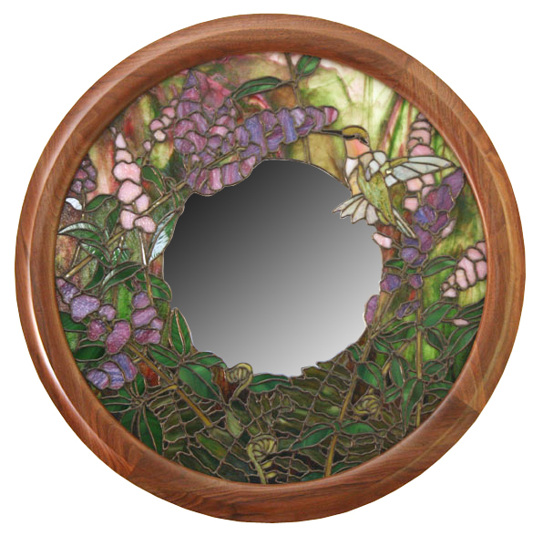 Hummingbird Mirror with Butterfly Bush and Male Hummingbird