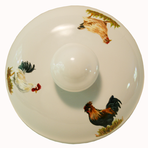 Canister top with Chickens