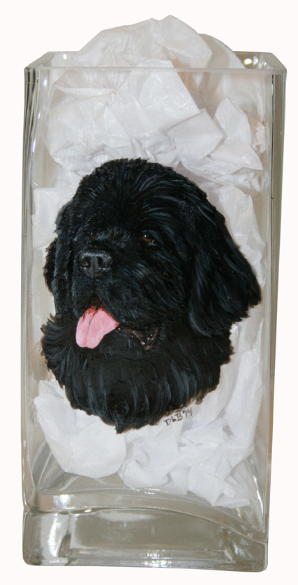Black Newfoundland Custom Painted Vase