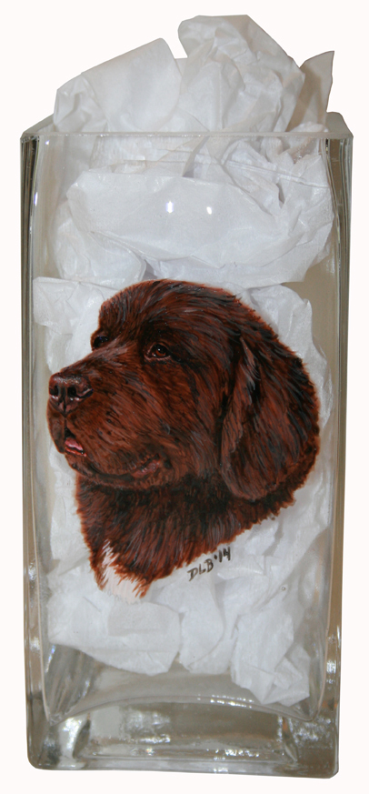 Brown Newfoundland Custom Painted Vase