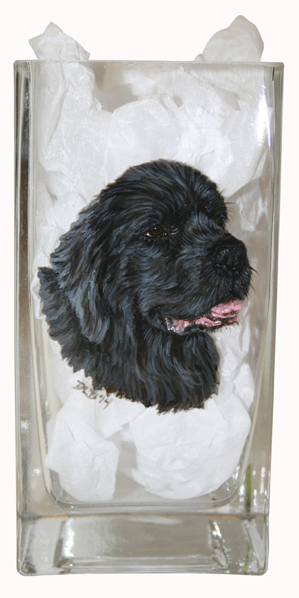 Gray Newfoundland Custom Painted Vase