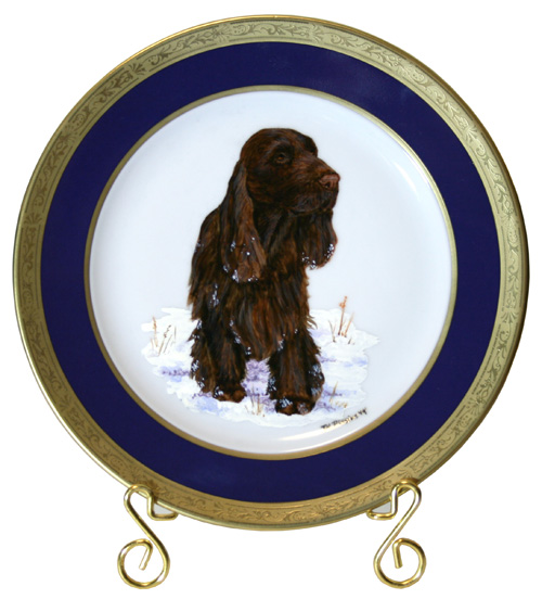 Field Spaniel Winners Dog Painted Plate